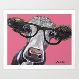 Cow Art, Colorful Cow With Glasses Art. Art Print