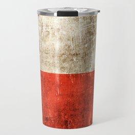 Vintage Aged and Scratched Polish Flag Travel Mug