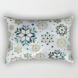Festive Golden Abalone Shell Snowflake pattern Rectangular Pillow