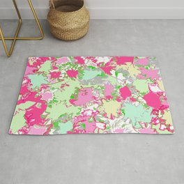 Sketchy Fun Flowers in Shades of Pink, Green and Yellow Rug