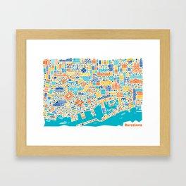 Vianina Barcelona City Map Poster Framed Art Print
