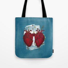 two hearts beating as one Tote Bag