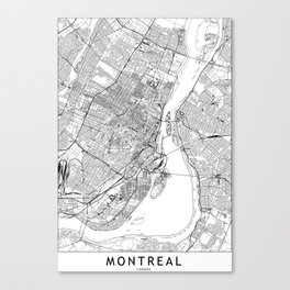 Montreal White Map Canvas Print