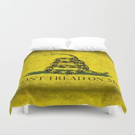 Gadsden Flag, Don't Tread On Me in Vintage Grunge Duvet Cover