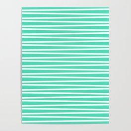 Menthol green and white thin horizontal stripes Poster