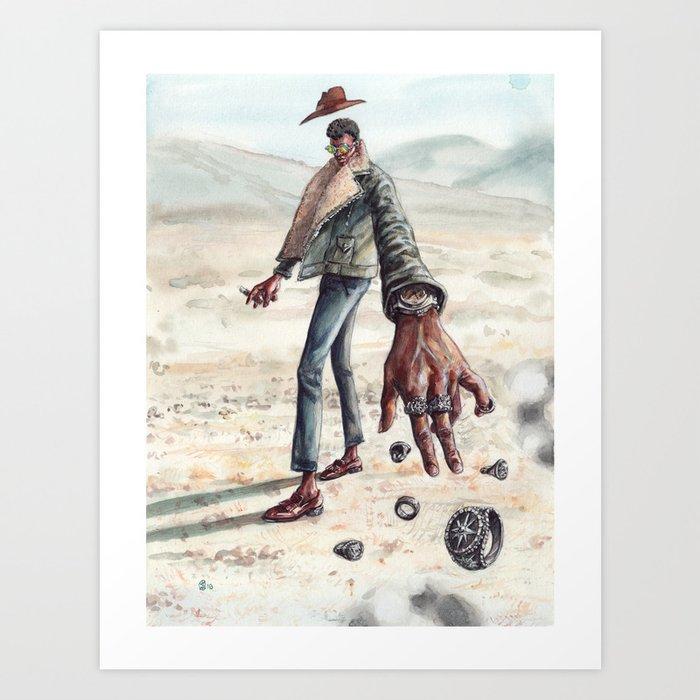 The Desert Man of Many Rings Art Print