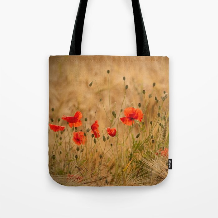 Golden cornfield with poppies Tote Bag