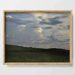 Sunset Cloudscape Rolling Hills Hay Rolls Serving Tray