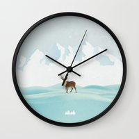 reindeer Wall Clocks featuring Reindeer by Javier Martinez