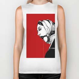 Lady Portrait on Red. Biker Tank
