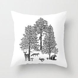Vintage woodland animals Throw Pillow
