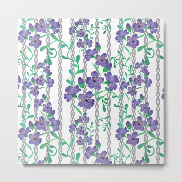 Flowers on a striped background. Metal Print