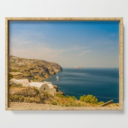 Beautiful landscape with sea view of the Nea Kameni, a small Greek island in the Aegean Sea near San Serving Tray