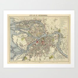Map of St. Petersburg 1883 Kunstdrucke