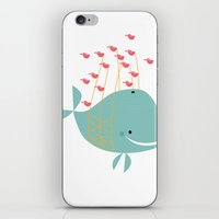 the whale iPhone & iPod Skins featuring Whale by Zen and Chic