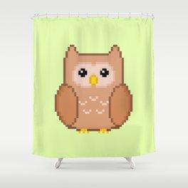 Pixel Owl Shower Curtain
