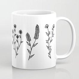 Black and white flower stems Coffee Mug