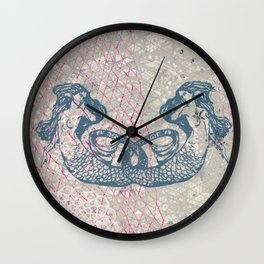 Double Mermaids Wall Clock