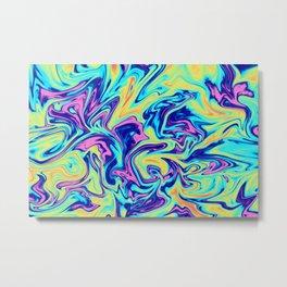 Neon Paint Spill Metal Print