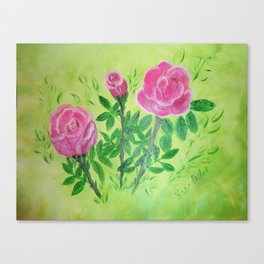 Springing Forth of The Rose Acrylic Painting by Rosie Foshee Canvas Print