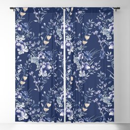 Chinoiserie Flowers Blue on Blue Blackout Curtain