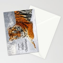 Christmas Tiger Cub in the Snow Wildlife Theme Stationery Cards