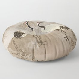 Wintering Manchurian Cranes Floor Pillow
