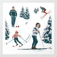 sports Art Prints featuring Sports d'hiver by Vannina