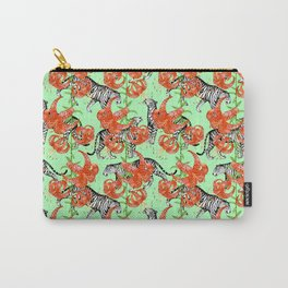 Tigers and Tiger Lilies (Green Background) Carry-All Pouch