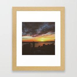 Sunset over Seattle  Framed Art Print