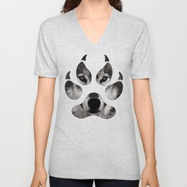Wolf's Paw Black and White Unisex V-Neck