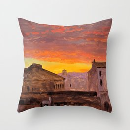 Frederic Edwin Church - Rome, Rooftops At Sunset - Digital Remastered Edition Throw Pillow