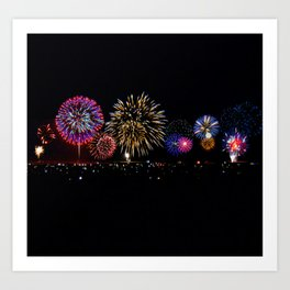 Fireworks Over City Lights Art Print