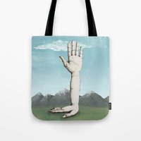 hands Tote Bags featuring Hands by Bwiselizzy