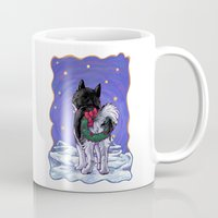 husky Mugs featuring Husky Christmas by Imagine That! Design