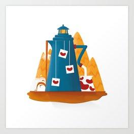 Tea Lighthouse Art Print