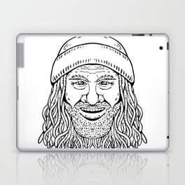 Rastafarian Dude Head Front Drawing Black and White Laptop & iPad Skin