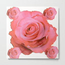 OLD PINK ROSES & CREAM COLOR MODERN ART CONCEPT Metal Print