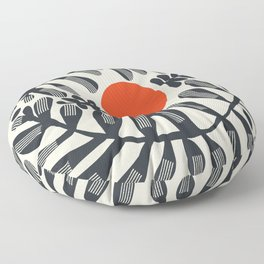 Black plant and red sun Floor Pillow