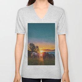 Horse Sunrise (Color) Unisex V-Neck
