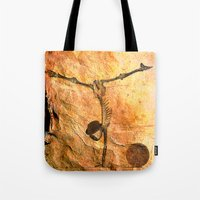 workout Tote Bags featuring Workout for Monsieur Bone by Joe Ganech
