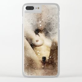 Nude woman sitting watercolor Clear iPhone Case