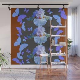 LILAC-PURPLE BLUE BUTTERFLIES  BROWN ART DESIGN Wall Mural