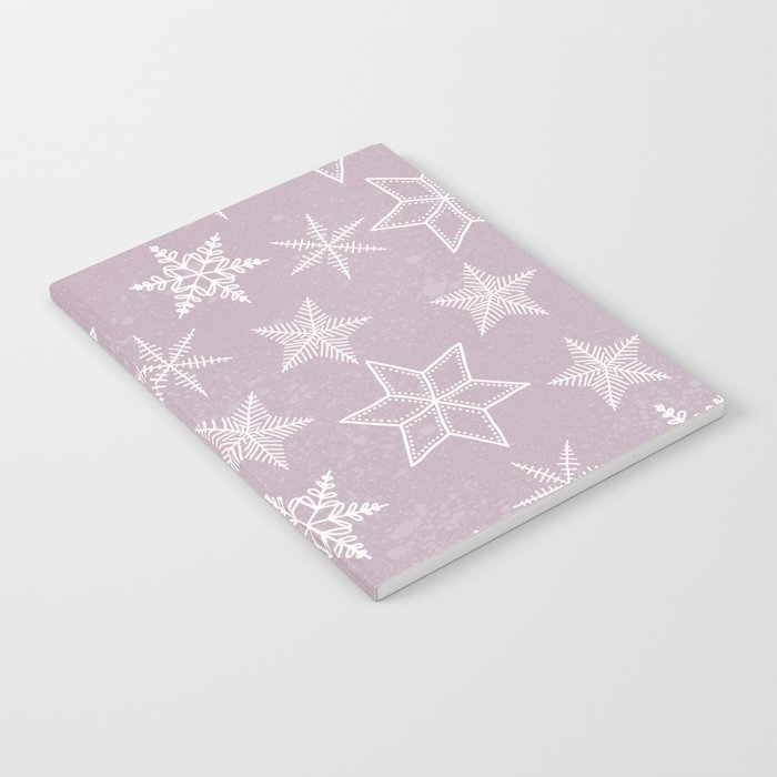 Snowflakes on pink background Notebook