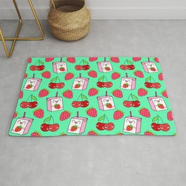 Cute funny sweet boxes of yummy flavored milk, little cherries and red ripe summer strawberries cartoon fantasy pastel aquamarine green pattern design Rug