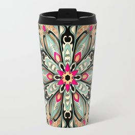Tribal Geometric brown and green Mandala Travel Mug