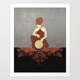 Rastafari Woman on Bongo Drum Art Print