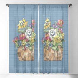 A Basket of Flowers Sheer Curtain