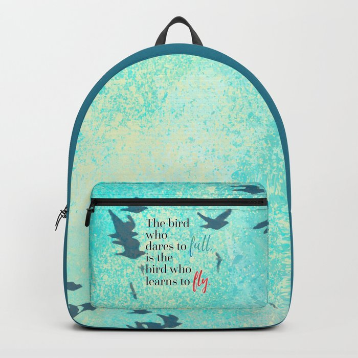 Learn To Fly Motivational Quote Backpack