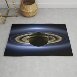 Rings of Saturn During Eclipse of the Sun Spacecraft Fly-by Photograph Rug